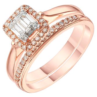 9ct Rose Gold 1/3ct Diamond Perfect Fit Bridal Set - Product number 6229883