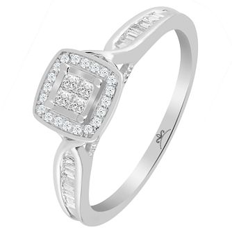 9ct White Gold 1/4 Carat Diamond Princessa Ring - Product number 6230598