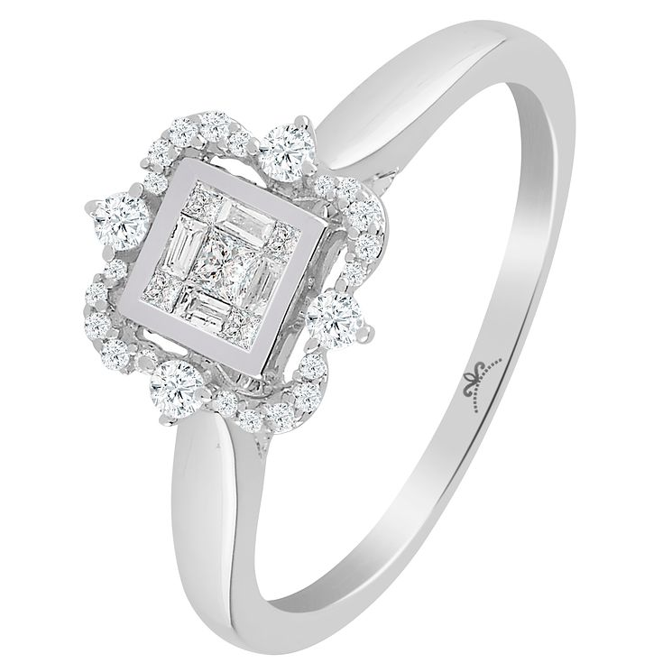 9ct White Gold 1/4 Carat Diamond Princessa Ring - Product number 6230601