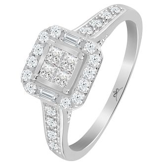 9ct White Gold 1/2 Carat Diamond Princessa Ring - Product number 6230636
