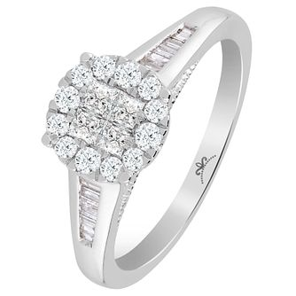 9ct White Gold 1/2 Carat Diamond Princessa Ring - Product number 6230644