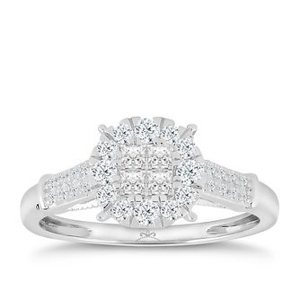 9ct White Gold 1/2 Carat Diamond Princessa Ring - Product number 6230660