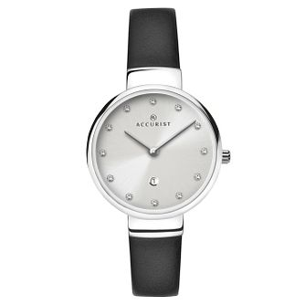 Accurist Ladies' Black Leather Strap Watch - Product number 6231055