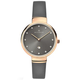 Accurist Ladies' Grey Leather Strap Watch - Product number 6231063