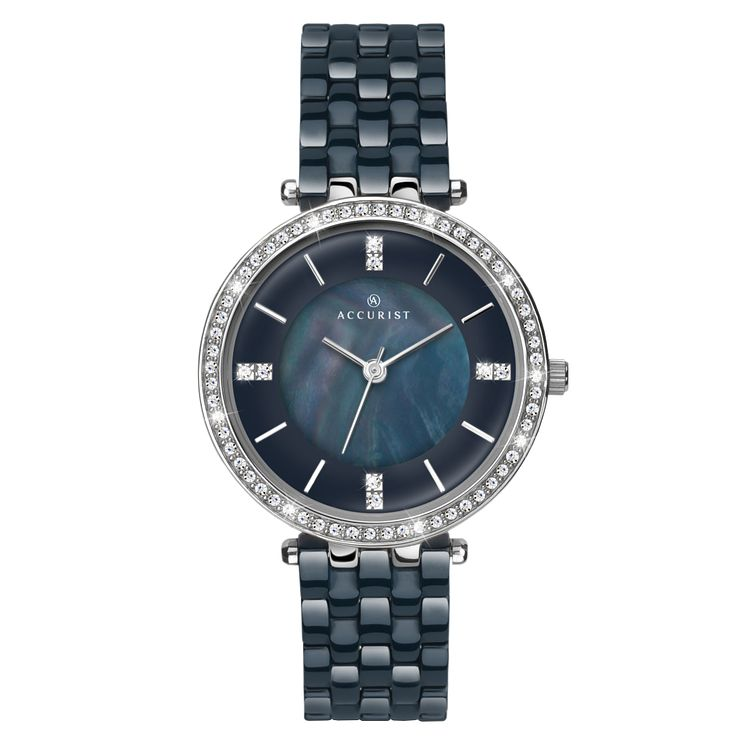 Accurist Ladies' Blue Ceramic Strap Watch - Product number 6231160