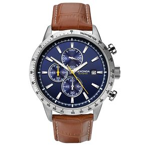 Sekonda Men's Chronograph Brown Leather Strap Watch - Product number 6231209