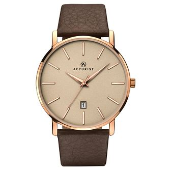 Accurist Men's Brown Leather Strap Watch - Product number 6231217
