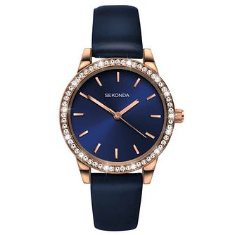 Sekonda Editions Ladies' Dark Blue Leather Strap Watch - Product number 6231470