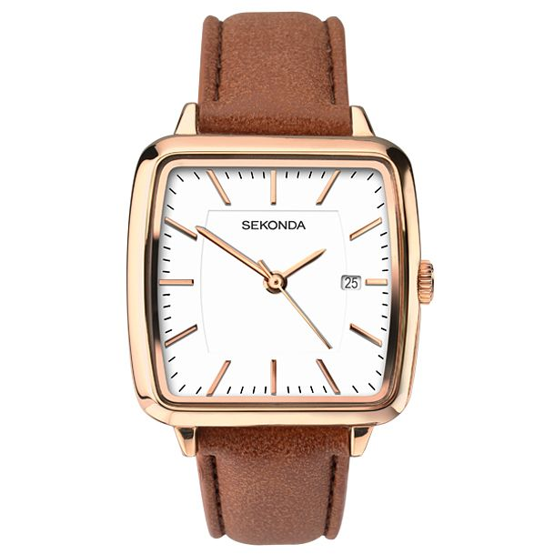 Sekonda Editions Ladies' Square Brown Leather Strap Watch - Product number 6231527