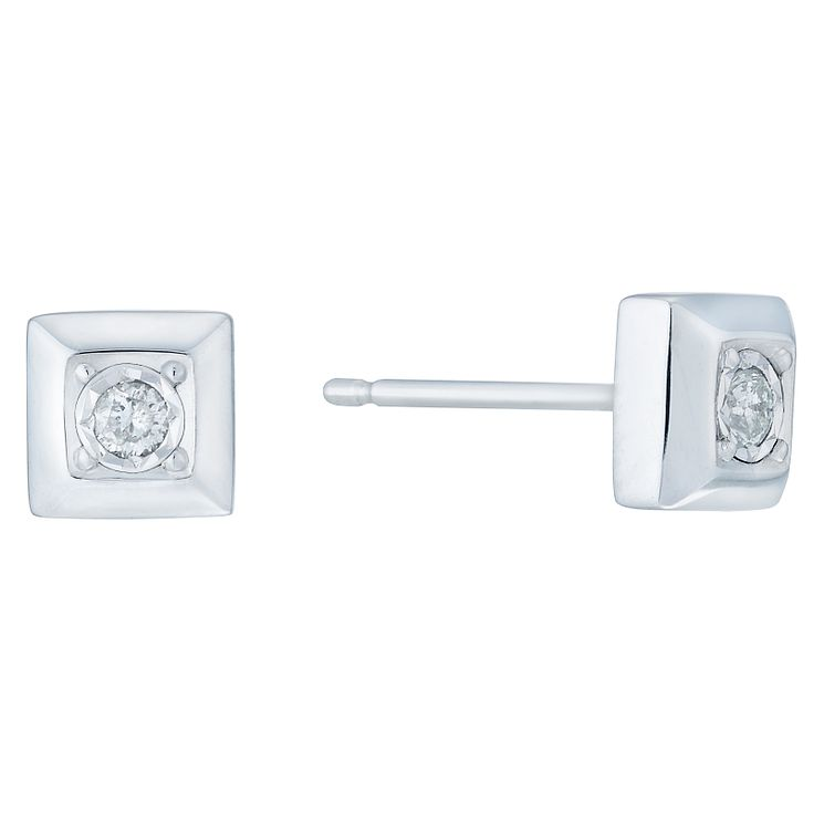 9ct White Gold Square Diamond Stud Earrings - Product number 6232175