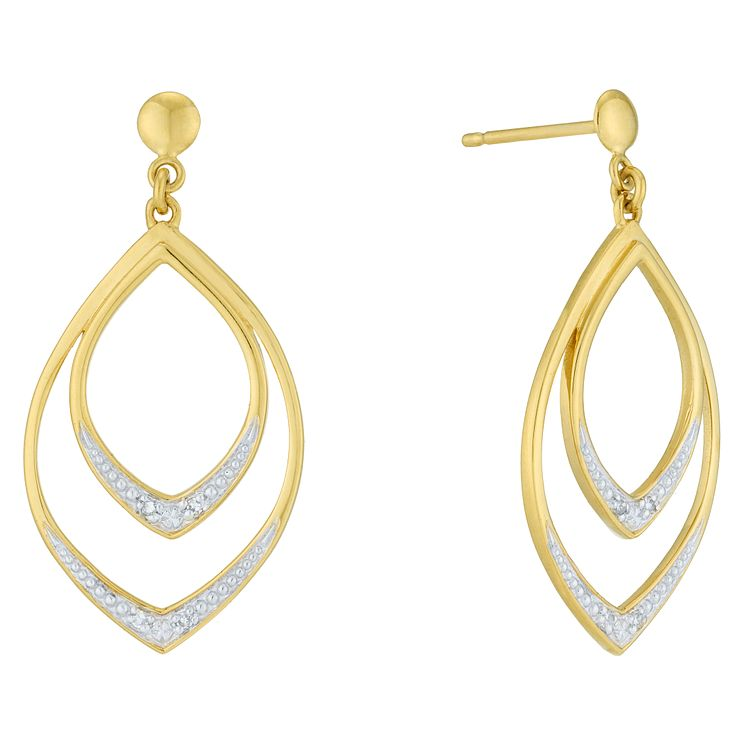9ct Yellow Gold Diamond Earrings - Product number 6232183