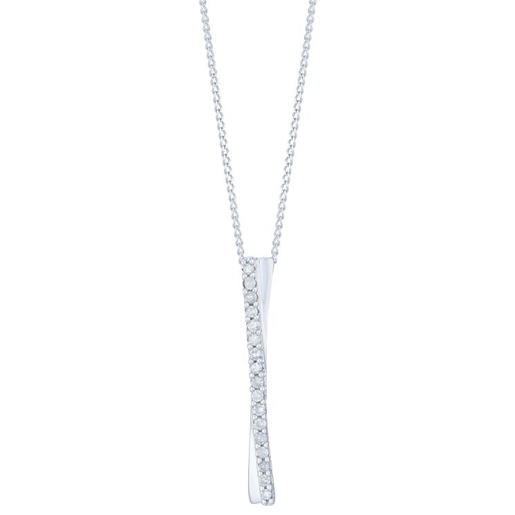 9ct White Gold & Diamond Pendant - Product number 6232825