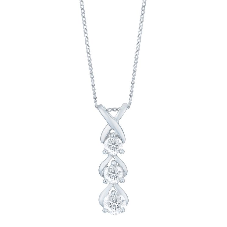 9ct White Gold 1/5 Carat Diamond 3 Stone Pendant - Product number 6232833