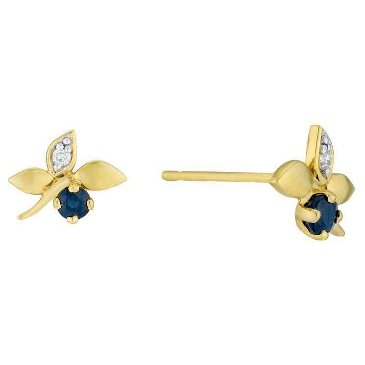 9ct Yellow Gold Sapphire & Diamond Earrings - Product number 6232892