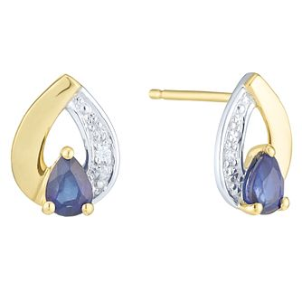 9ct Yellow Gold Sapphire & Diamond Earring - Product number 6232930