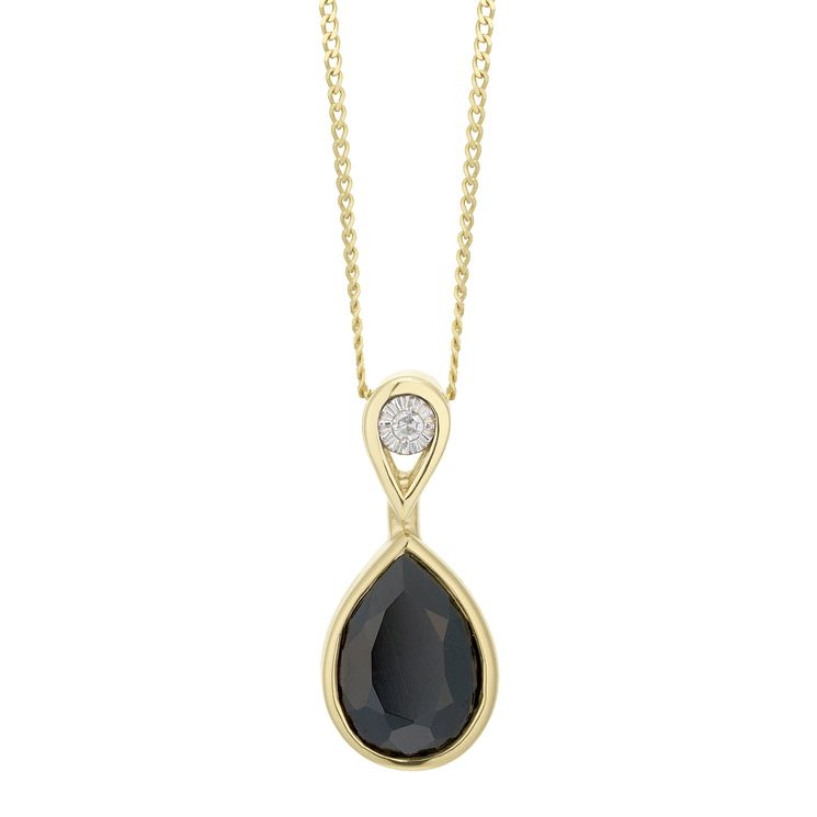 9ct Yellow Gold Sapphire & Diamond Pendant - Product number 6232965