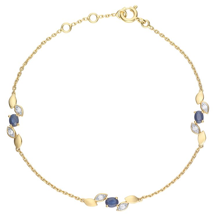 9ct Yellow Gold Sapphire & Diamond Bracelet - Product number 6232973