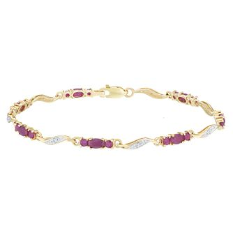 9ct Yellow Gold Ruby & Diamond Bracelet - Product number 6233007