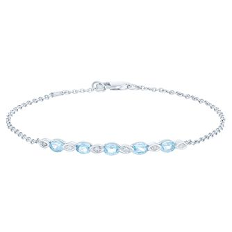 Sterling Silver Blue Topaz & Diamond Bracelet - Product number 6233031
