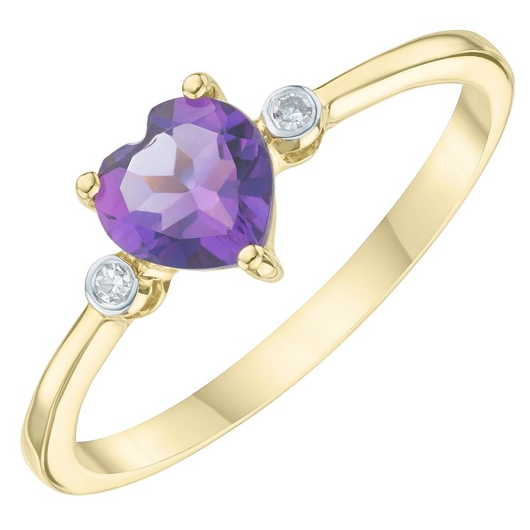 9ct Yellow Gold Amethyst & Diamond Heart Solitaire Ring - Product number 6233597