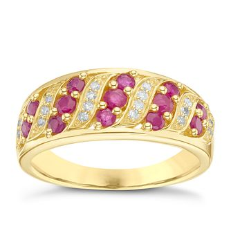 9ct Yellow Gold Ruby & Diamond Eternity Ring - Product number 6233988