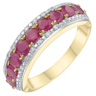 9ct Yellow Gold Ruby & Diamond Eternity Ring - Product number 6234372