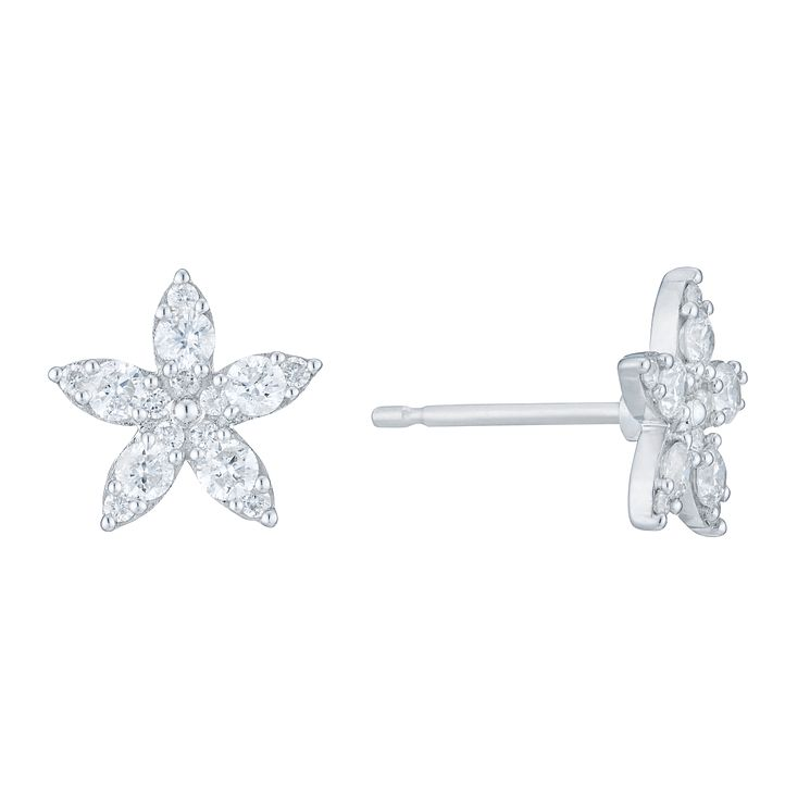 9ct White Gold 2/5 Carat Diamond Flower Stud Earrings - Product number 6234909