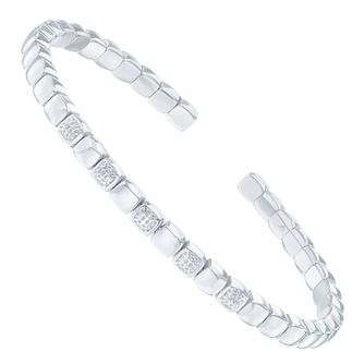 Sterling Silver Diamond Square Bangle - Product number 6234933