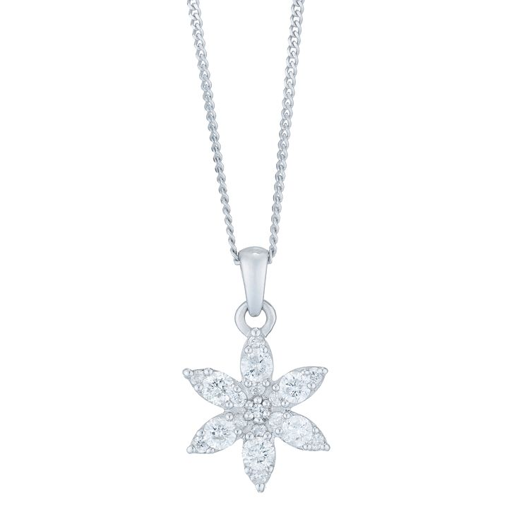 9ct White Gold 1/4 Carat Diamond Flower Pendant - Product number 6234976