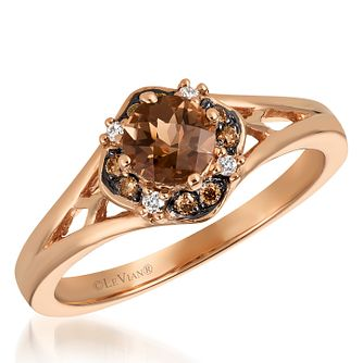 14ct Strawberry Gold Diamond & Chocolate Quartz Ring - Product number 6236073