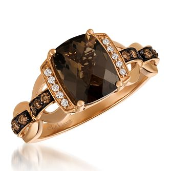 14ct Strawberry Gold Smokey Quartz & Diamond Ring - Product number 6236219