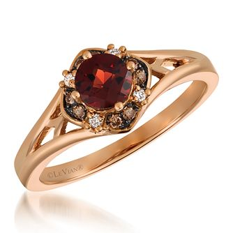 14ct Strawberry Gold Diamond & Pomegranate Garnet Ring - Product number 6236340