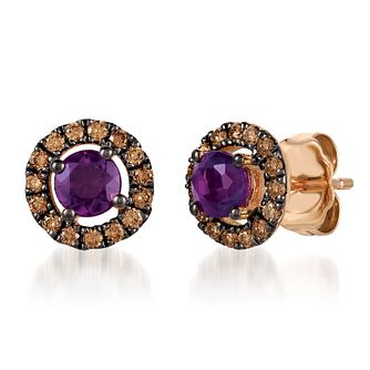 14ct Strawberry Gold™ Diamond & Grape Amethyst Earrings - Product number 6236472