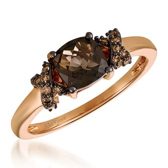 14ct Strawberry Gold Diamond & Chocolate Quartz Ring - Product number 6236626