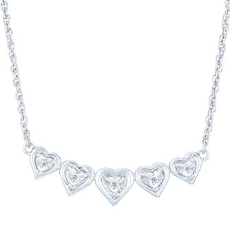 Sterling Silver Diamond Heart Necklet - Product number 6237053