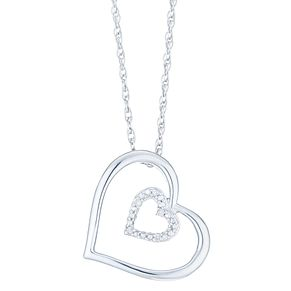 Sterling Silver & Diamond Heart Pendant - Product number 6237088