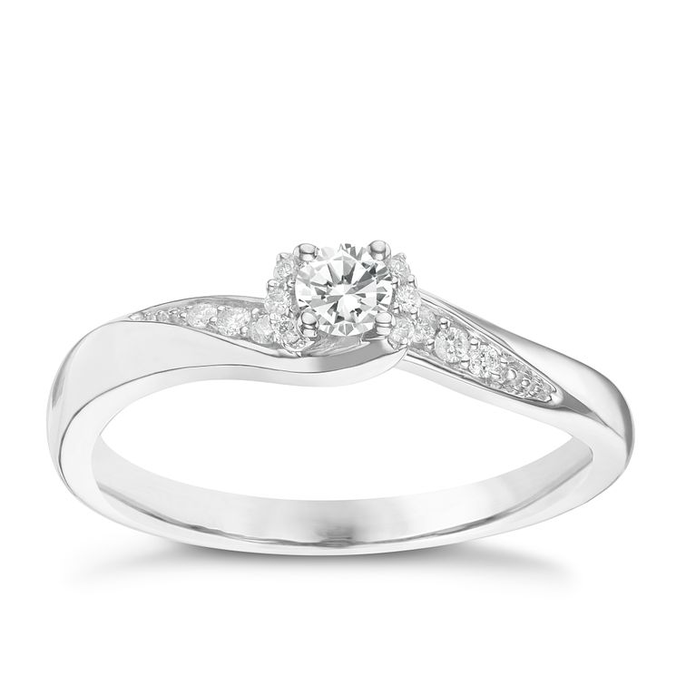 9ct White Gold 0.17ct Diamond Solitaire Ring - Product number 6237762