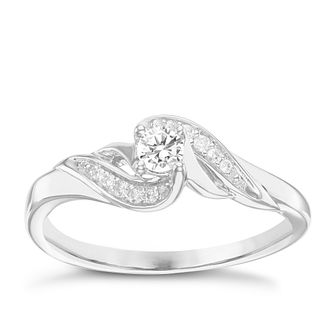 9ct White Gold 0.17ct Diamond Solitaire Ring - Product number 6237940