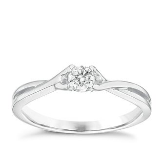 9ct White Gold 0.16 Carat Diamond Solitaire Ring - Product number 6238173