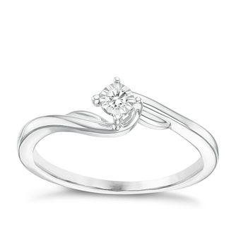 9ct White Gold Illusion Set Diamond Solitaire Ring - Product number 6238955