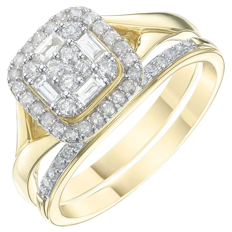 9ct Yellow Gold 2/5ct Diamond Perfect Fit Bridal Set - Product number 6240852
