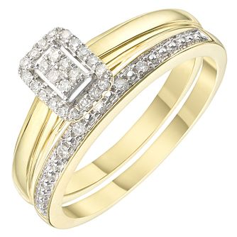 9ct Gold 0.12ct Diamond Perfect Fit Bridal Set - Product number 6241042