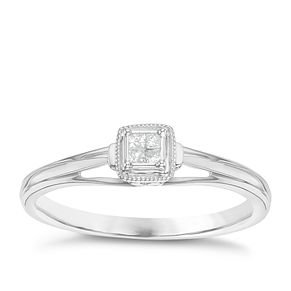 Cherished Argentium Silver Diamond Cluster Ring - Product number 6241301