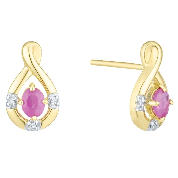 9ct Yellow Gold  & Ruby Diamond Earring - Product number 6241506