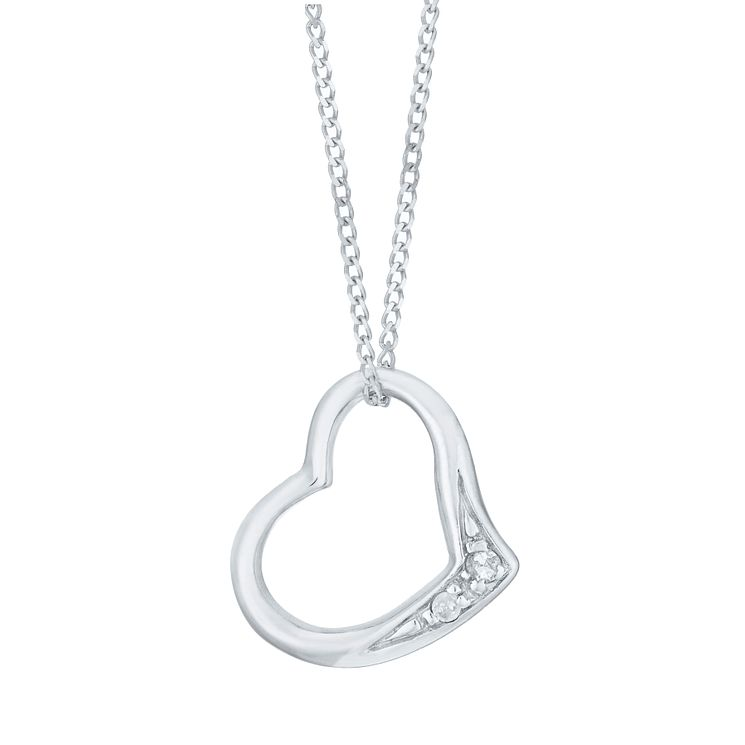 9ct White Gold Diamond Heart Pendant - Product number 6241557