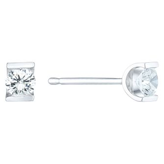 9ct White Gold 1/5 Carat Diamond Bar Set Stud Earrings - Product number 6241654