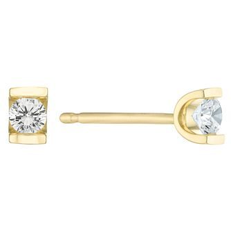 9ct Gold 0.10 Carat Diamond Bar Set Stud Earrings - Product number 6241662