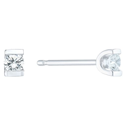 9ct White Gold 0.10 Carat Diamond Bar Set Stud Earrings - Product number 6241921