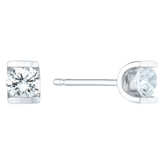 9ct White Gold 0.30 Carat Diamond Bar Set Stud Earrings - Product number 6241956