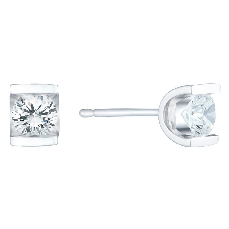 9ct White Gold 0.40 Carat Diamond Bar Set Stud Earrings - Product number 6241972